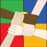 Diversity. Illustration of hands of people from different races holding each other to create a strong link Stock Image