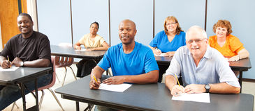 Diversity in Adult Education - Banner. Diverse adult education or college class. Wide angle banner stock photos