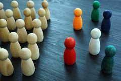 Free Diversity And Inclusion. Wooden And Colored Figurines Stock Photography - 158621362
