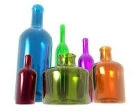 Diversity Bottles. Conceptual image of multi colored bottles of different sizes representing diversity vector illustration
