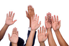 Diversity of Business Hands Raised.  Stock Images