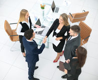 Diversity business team concluding contract with handshake in a Stock Photos