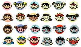 Diversity Child, baby, kids face. Icons design elements stock illustration