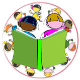Diversity: Book and Children for School Education, Cartoon Royalty Free Stock Image