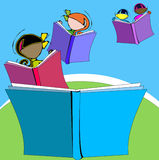 Diversity: Book and Children for School Education, Cartoon Stock Image