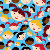Diversity children faces pattern Stock Illustration