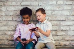 Diversity Children Friends Using Digital Devices Concept royalty free stock photos