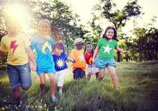 Diversity Children Friendship Happiness Playful Concept.  Stock Images
