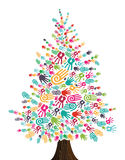 Diversity Christmas Tree hands isolated vector illustration