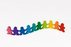 Diversity and Community. Social and Business concepts illustrated with colorful wooden people Stock Image
