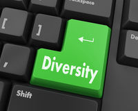Diversity. A computer keyboard with red keys spelling diversity, learn, raster Royalty Free Stock Photo