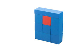 Diversity concept from the blue and red wooden cubes Royalty Free Stock Photo