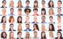 Diversity concept - collage with many business people portraits. Over white Royalty Free Stock Photos
