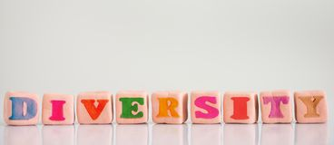 Diversity concept colorful text stock photo