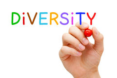 Diversity Concept. Hand writing Diversity with marker on transparent wipe board Stock Photos