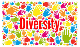 Diversity concept illustration. With colorful hands royalty free illustration