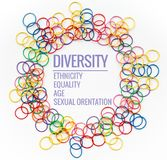 Diversity concept. mix colorful rubber band on white background with text Diversity, Ethnicity, Equality, Age, Sexual Orientation stock photo