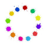 Diversity Concept - Multi-Colored Paint Spots Circle. Ring of colored paint splats, drops, spots isolated on white. Ties in with concepts of diversity, variety Stock Images