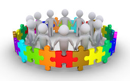 Diversity concept with people. Different colored puzzle pieces connected around people Royalty Free Stock Photo