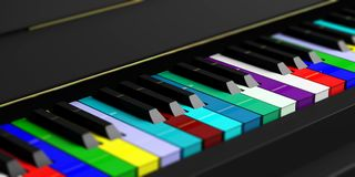 Colorful piano keyboard. 3d illustration. Diversity concept. Rainbow piano keyboard. 3d illustration Royalty Free Stock Photos