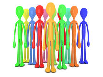 Diversity Crowd. 3D rendered Illustration. A community of  diversity. Isolated on white Royalty Free Stock Photography