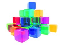 Diversity Cubes. 3D computer generate gel cubes of various colors stock illustration
