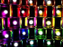 Diversity Cylinders. 3D computer generate gel cubes of various colors representing unity and team lit up on a black background vector illustration