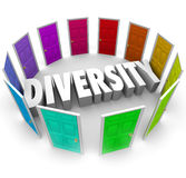 Diversity 3d Word Many Choices Ethnic Racial Backgrounds Heritage. Diversity word in white 3d letters surrounded by color doors representing many ethnic vector illustration
