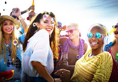 Diversity Dancing Beach Party Celebration Concept Royalty Free Stock Photography