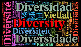 Diversity in different languages word cloud Royalty Free Stock Photography