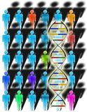 Diversity and DNA. Multicolored figures and DNA strand Royalty Free Illustration