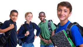 Diversity in Education. Four young boys are ready for school. Education, family, learning, diversity Royalty Free Stock Photos
