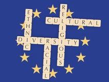 Diversity In The EU: Letter Tiles, 3d illustration With European Union Flag. Diversity In The EU Concept: Letter Tiles, 3d illustration With European Union Flag royalty free illustration