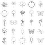 Diversity of flora icons set, outline style. Diversity of flora icons set. Outline set of 25 diversity of flora vector icons for web isolated on white background Royalty Free Stock Photos