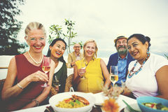 Diversity Friends Hanging out Party Dining COncept royalty free stock photography