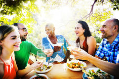 Diversity Friendship Dining Hanging out Luncheon Concept stock photo