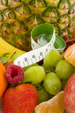 Diversity fruit with measure tool Stock Image