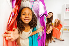 Diversity of girls during shopping choose clothes Stock Photography