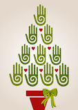 Diversity green hands in Christmas Tree Royalty Free Stock Image