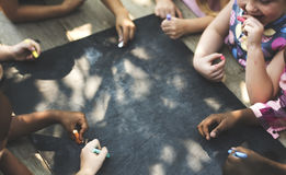 Diversity Group Of Kids Drawing Chalk Board Stock Photography