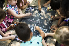 Diversity Group Of Kids Drawing Chalk Board Royalty Free Stock Photography
