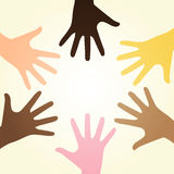 Diversity hands. Vector illustration of colorful ring of multiracial diverse hands symbolizing human unity Royalty Free Illustration