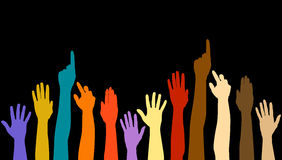 Diversity Hands. Multicolored hands/concert audience isolated against a black background Royalty Free Stock Image