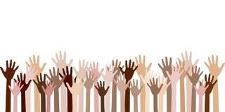 Diversity of human hands raised. vector illustration