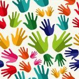 Diversity human hands seamless pattern. Stock Photos