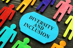 Diversity and inclusion phrase and colored figurines.