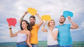 Diversity interests and thoughts. Difference between men and women. Thoughts of different sex. Bearded man and girl with royalty free stock photos