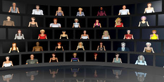 Diversity. On the Internet and the Workplace with Different Races Stock Image