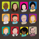 Diversity Interracial Community People Flat Design Icons Concept Stock Image