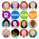 Diversity Interracial Community People Flat Design Icons Concept Stock Photos